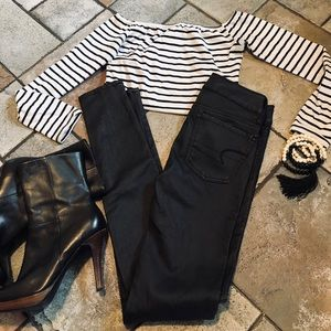 🆕🆕🆕✨AEO SKINNY STRETCH JEGGINGS-FAUX LEATHER-00
